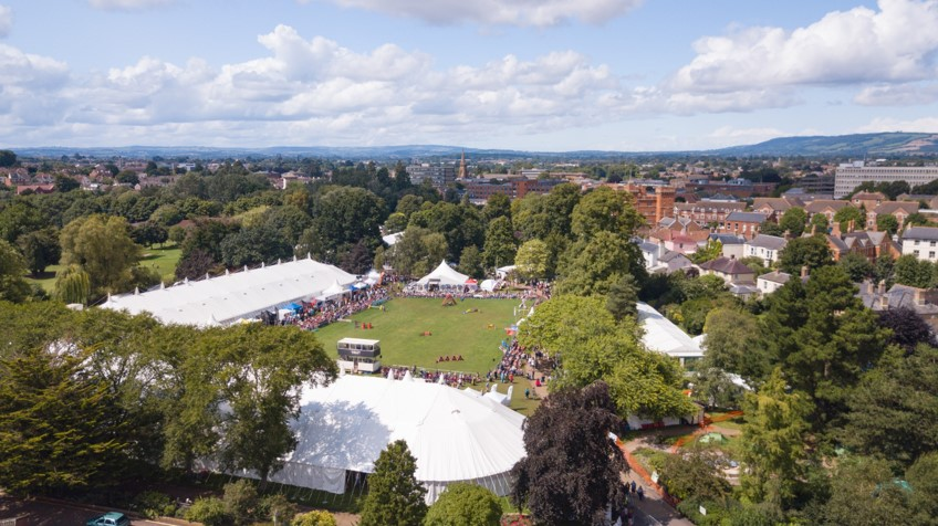Aerial photo shot of the Taunton Flower Show arena with a marching band performing