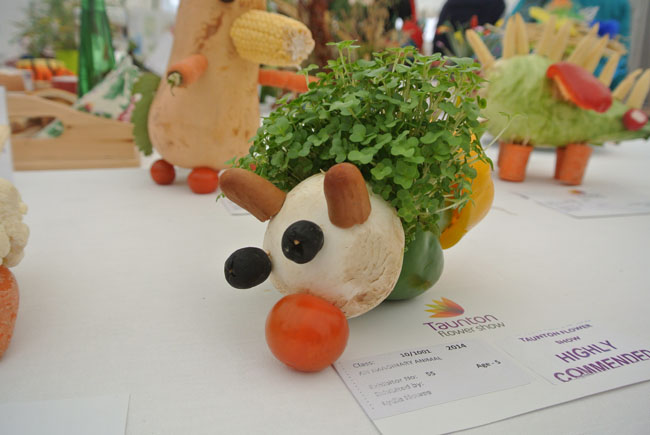 Cute animal made from vegetables in competition marquee