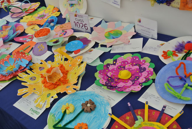 Colourful display of children's competition entries